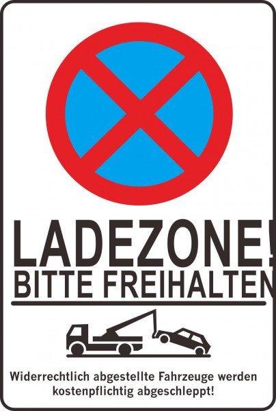 Parkplatzschild - LADEZONE! BITTE FREIHALTEN! - 300x200 mm