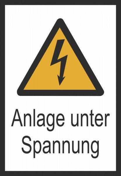 Anlage unter Spannung Warn-Kombischild - 13,1x18,5 cm