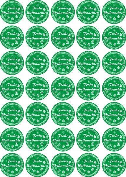 Frohe Weihnachten - Aufkleber für Weihnachten 35 Stück - grün Vintage für Geschenke oder Karten