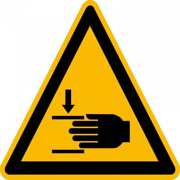 Warnschild Folie 44 Stück aufür Bogen - Handverletzung 25 mm