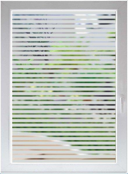 Glasdekorfolie - Dekorationsfolie silber matt - Blickdichte Fensterfolie - Streifen satin opaque