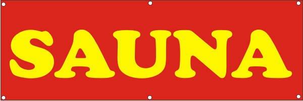 Werbeplane / Gerüstplane - p142 - Sauna - NEU - für Baustelle, Garten, Zaun oder Veranstaltung