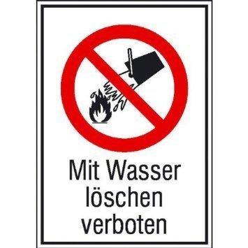 Mit Wasser löschen verboten - 13,10x18,50cm DE843