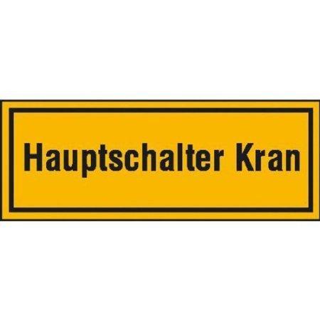Hauptschalter Kran Hinweisschild - 8x3cm DE506