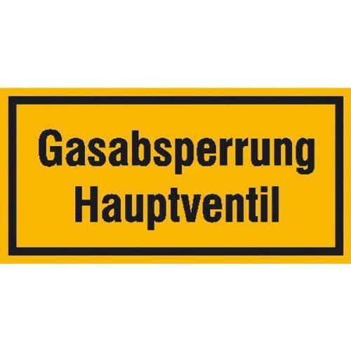 Gasabsperrung Hauptventil Hinweisschild - 20x10cm DE143