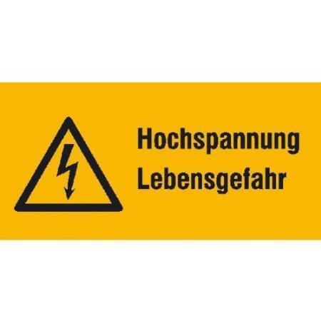 Hochspannung Lebensgefahr Warnschild, Büro 14,80x7,40cm DE557