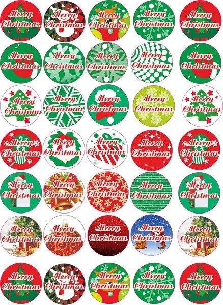 Merry Christmas - Aufkleber für Weihnachten 35 Stück - bunt Vintage - Labels - Stickers- Weihnachtsk