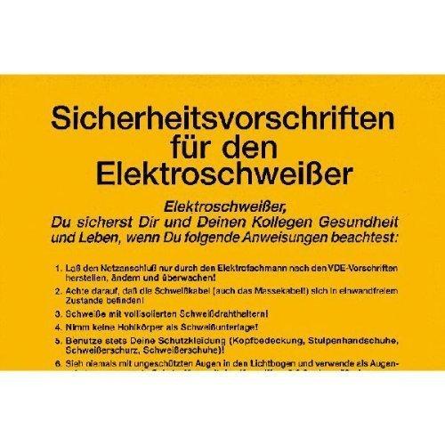 Sicherheitsaushang Sicherheitsvorschriften für den Elektroschweißer - 25x33cm DE197