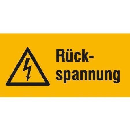 Rückspannung Warnschild - 13,1x6,5cm DE488