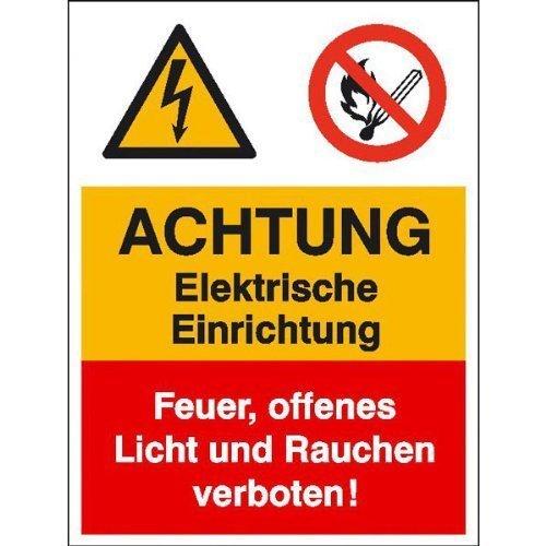 Achtung Elektrische Einrichtung Kombischild - 30x40cm DE173