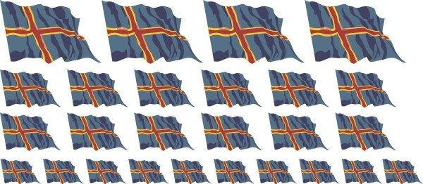 Mini Fahnen / Flaggen - Aland Islands