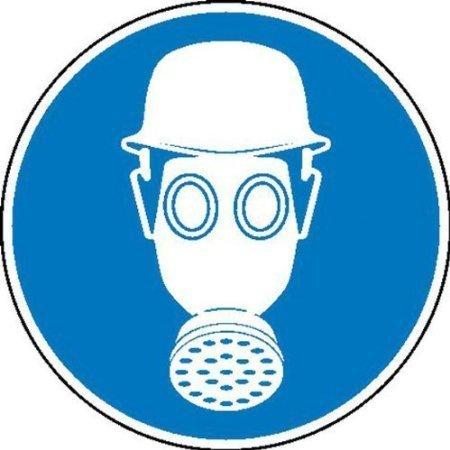 Atem- und Kopfschutz benutzen Gebotsschild - 10cm DE550