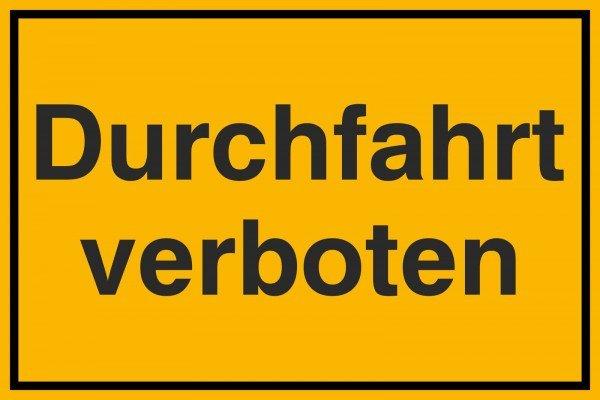 Durchfahrt verboten Hinweisschild zur Grundbesitzkennzeichnung, 30x20 cm