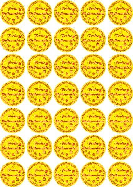 Frohe Weihnachten - Aufkleber für Weihnachten 35 Stück - gelb Vintage für Geschenke oder Karten
