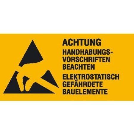 Elektrostatisch gefährdete Bauelemente Warnschild Bogen - 6 Stück - 5,20x2,60cm DE383