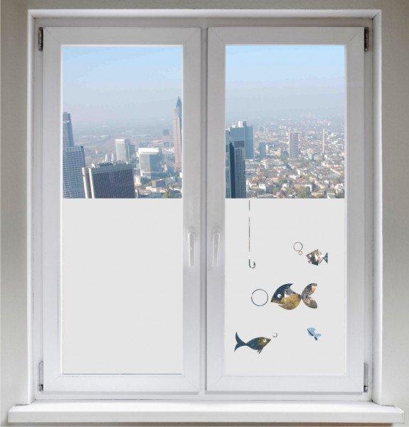 Glasdekorfolie Sonnenschutz Sichtschutzfolie Fensterbild Fische satiniert blickdicht