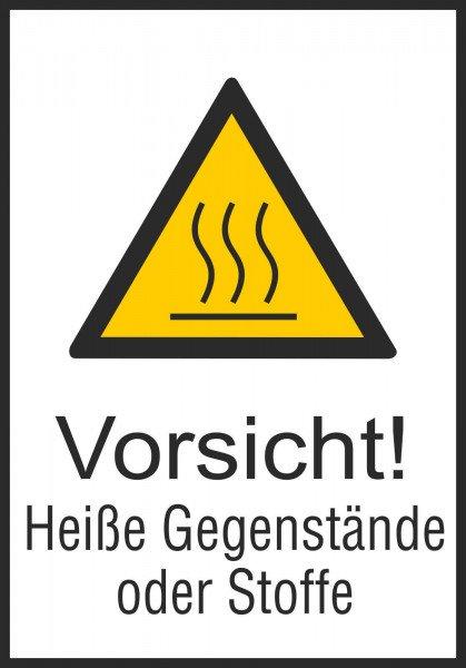 Warn-Kombischild Vorsicht! Heiße Gegenstände oder Stoffe 26,20x37,10 cm