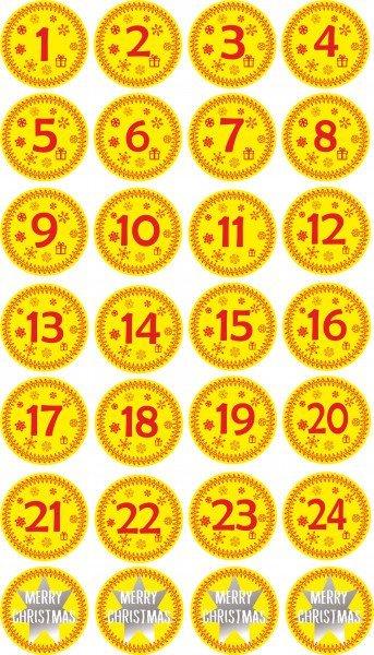 INDIGOS UG - Aufkleber für Adventskalender 1 to 24 - gelb + Bonus Vintage Style