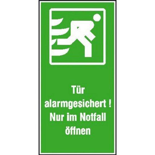Tür alarmgesichert! Nur im Notfall öffnen - 7,40x14,80cm DE152