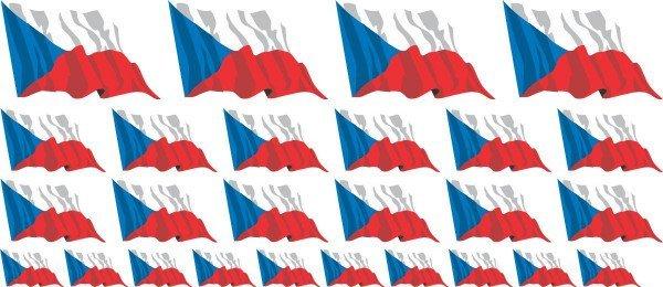 Mini Aufkleber Set - Fahne - Tschechische Republik