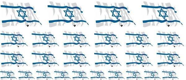 Mini Aufkleber Set - Fahne - Israel
