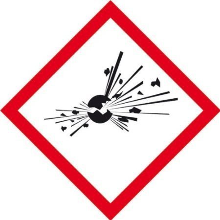 Gefahrsymbol Einzeletikett - Büro 5x5cm DE358