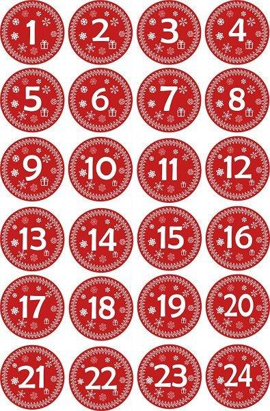INDIGOS UG - Aufkleber für Adventskalender 1 to 24 - rot Vintage Style