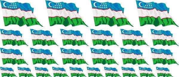 Mini Aufkleber Set - Usbekistan