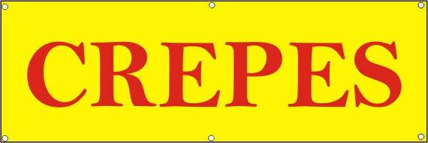 Werbeplane / Gerüstplane - p083 - CREPES - NEU - für Baustelle, Garten, Zaun oder Veranstaltung