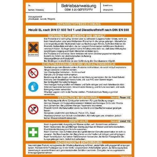 Betriebsanweisung für Heizöl und Diesel gem. GefStoffV - 21x29,7cm DE191