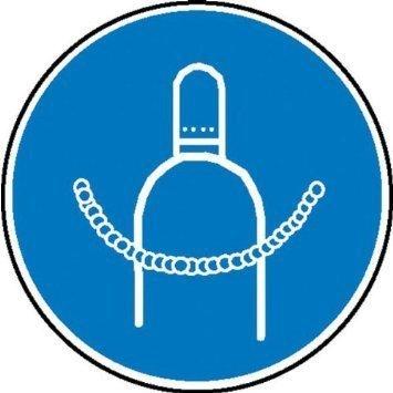 Druckgasflasche durch Kette sichern Gebotsschild - 20cm DE865
