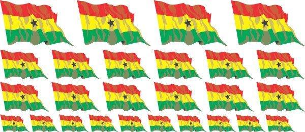 Mini Aufkleber Set - Fahne - Ghana