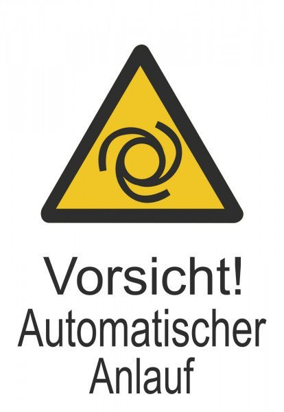Warn-Kombischild Vorsicht! Automatischer Anlauf 13,10x18,50 cm