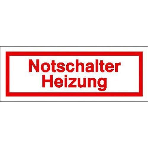 Notschalter Heizung Hinweisschild - 8x3cm DE109