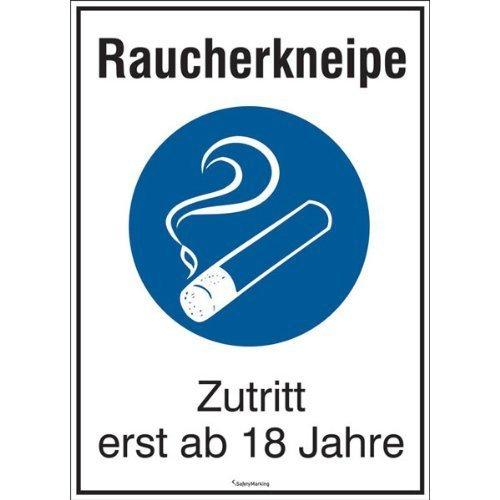 Raucherkneipe Zutritt erst ab 18 Jahre - 16,5x23cm DE33