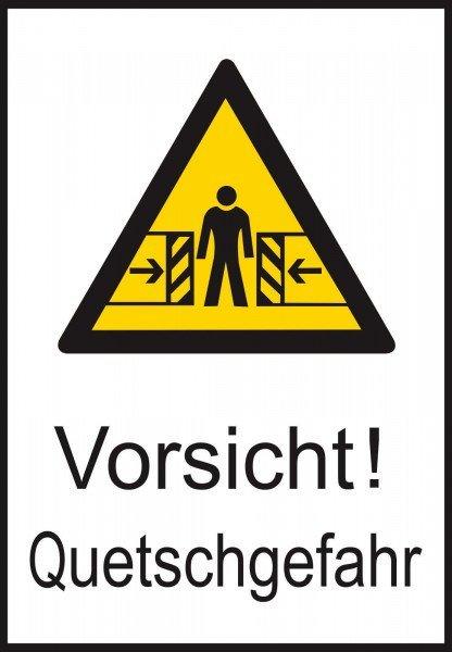 Warn-Kombischild Vorsicht! Quetschgefahr 13,10x18,50 cm