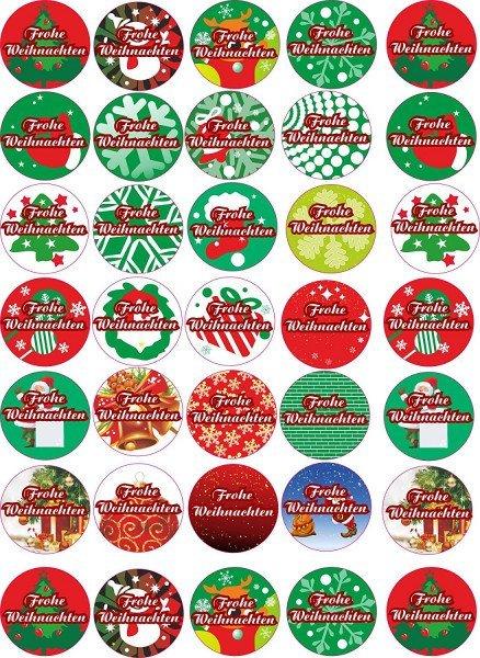 Frohe Weihnachten - Aufkleber für Weihnachten 35 Stück - bunt Vintage - Labels - Stickers- Weihnacht