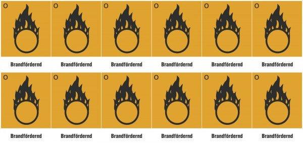 Gefahrsymbol Bogen, in versch Vers 12Stk Bogen, Folienetik, gest,2,60x3,70cm