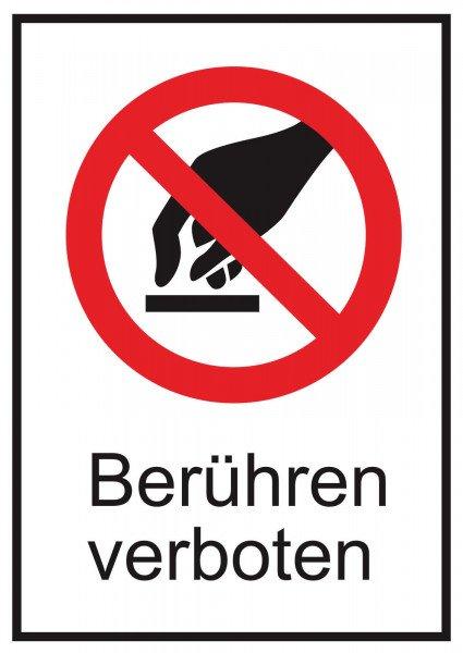 Verbots-Kombischild Berühren verboten - 13,10 cm x 18,50 cm