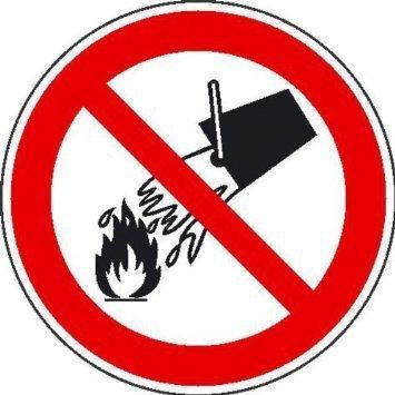 Mit Wasser löschen verboten Verbotsschild - 20cm DE754