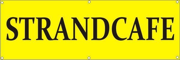 Werbeplane / Gerüstplane - p133 - Strandcafe - NEU - für Baustelle, Garten, Zaun oder Veranstaltung