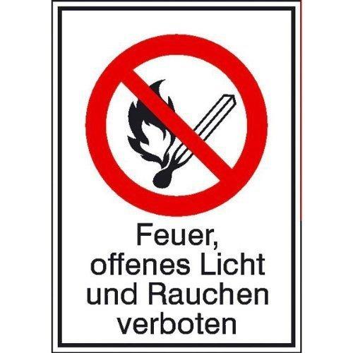 Feuer, offenes Licht und Rauchen verboten - 10,50x14,80cm DE120
