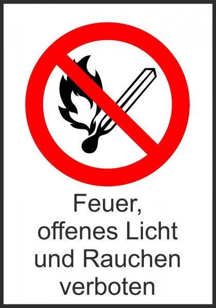 Verbots-Kombischild Feuer, offenes Licht, Rauchen verboten 13,10x18,50 cm