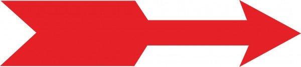 Drehrichtungspfeile, weiß/rot gerade, 6Stk aufür Bogen,Folienetik,gest,8x2,50cm