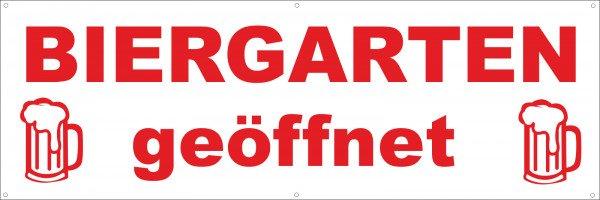 Werbeplane / Gerüstplane - p152 - rot - Biergarten geöffnet - NEU - für Baustelle, Garten, Zaun oder