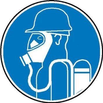 Schweres Atemschutzgerät tragen Gebotsschild - 20cm DE880