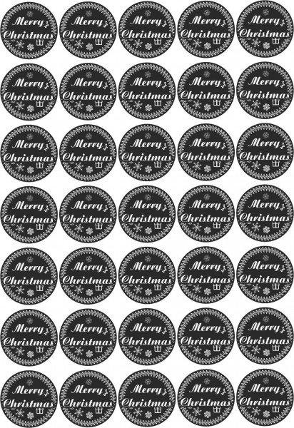 Merry Christmas - Aufkleber für Weihnachten 35 Stück - schwarz Vintage für Geschenke oder Karten