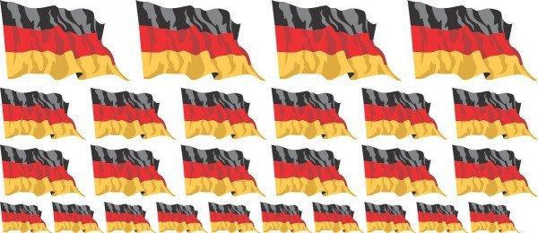 Mini Aufkleber Set - Fahne - Germany - Deutschland