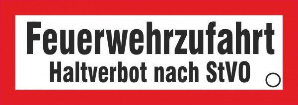 Feuerwehrzufahrt Halteverbot nach StVO Hinweisschild, 59,40x21,00 cm