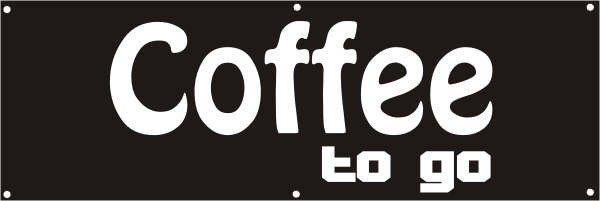 Werbeplane / Gerüstplane - p048 - Coffee to go - NEU - für Baustelle, Garten, Zaun oder Veranstaltun